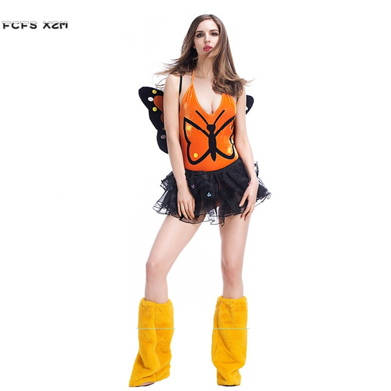 Deluex Sexy Halloween Butterfly Insect Costumes for Woman Female Fairy Cosplays Purim Carnival Stage play Masquerade party dress