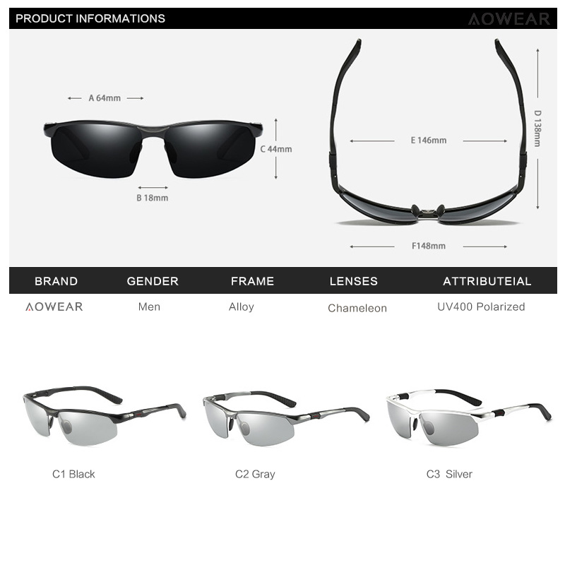 AOWEAR Photochromic Sunglasses Men Polarized Chameleon Glasses Male Change Color Sun Glasses HD Day Night Vision Driving Eyewear