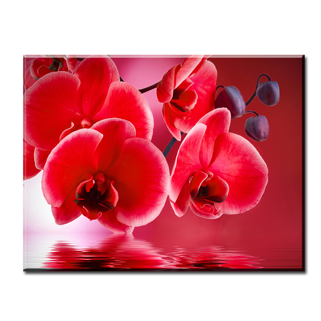 dp artisan red flowers in the water art wall painting print on canvas for home decor