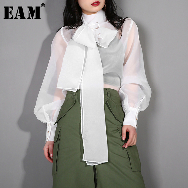 [EAM] 2019 New Spring Summer Stand Collar Long Sleeve Bandage Bow Organza Stitch Perspective Shirt Women Blouse Fashion WD35