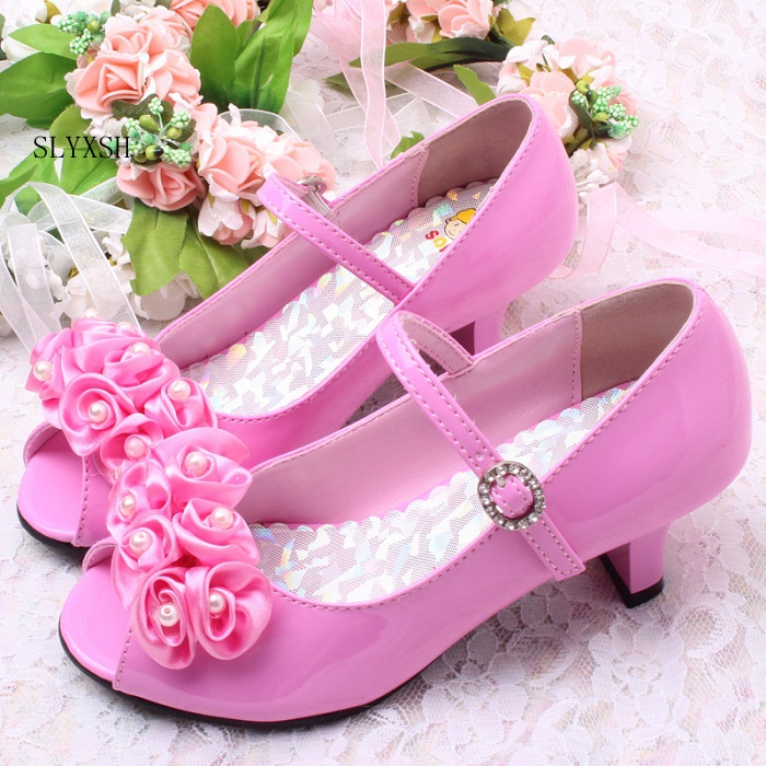 Us 16 19 10 Off Slyxsh 3 Colors Good Quality Children White Flower Pearls Shoes Girls High Heel Sandals Kids Wedding Shoes Children Size 26 36 In