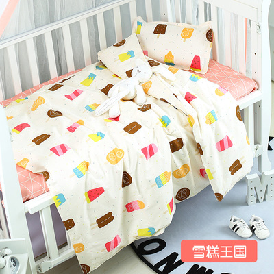 Cute Ice Cream Cot Bedding Cartoon Baby Bedding Sets Bed Safety Baby Bed Linens,Duvet/Sheet/Pillow, With Filling