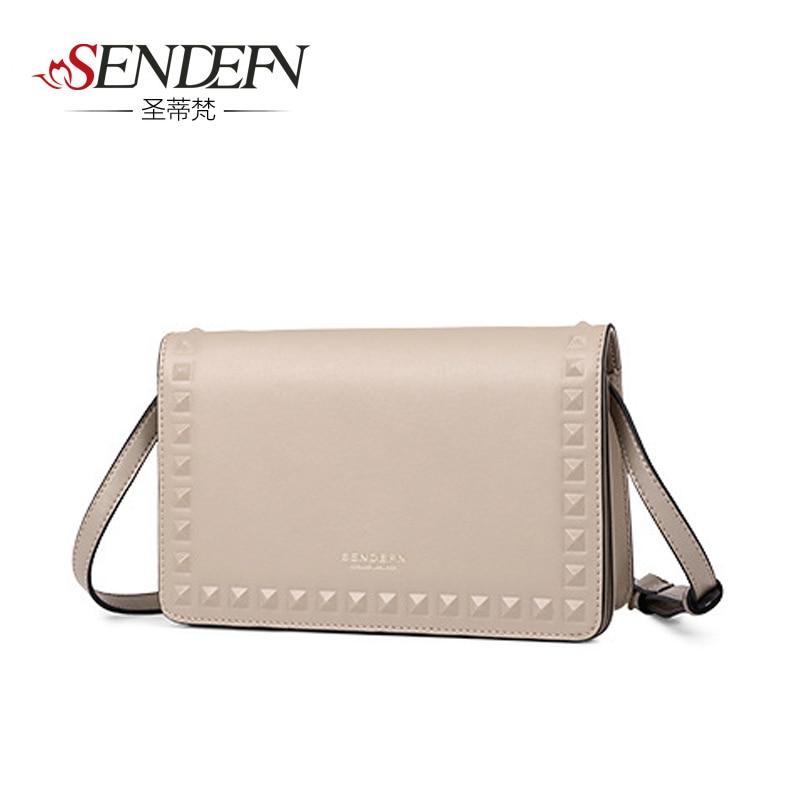 Sendefn Brand Women's Handbags Messenger Bags Small Flap Rivet Shoulder Bag Ladies Mini Crossbody Bags Female Daily Clutches banbao 6408