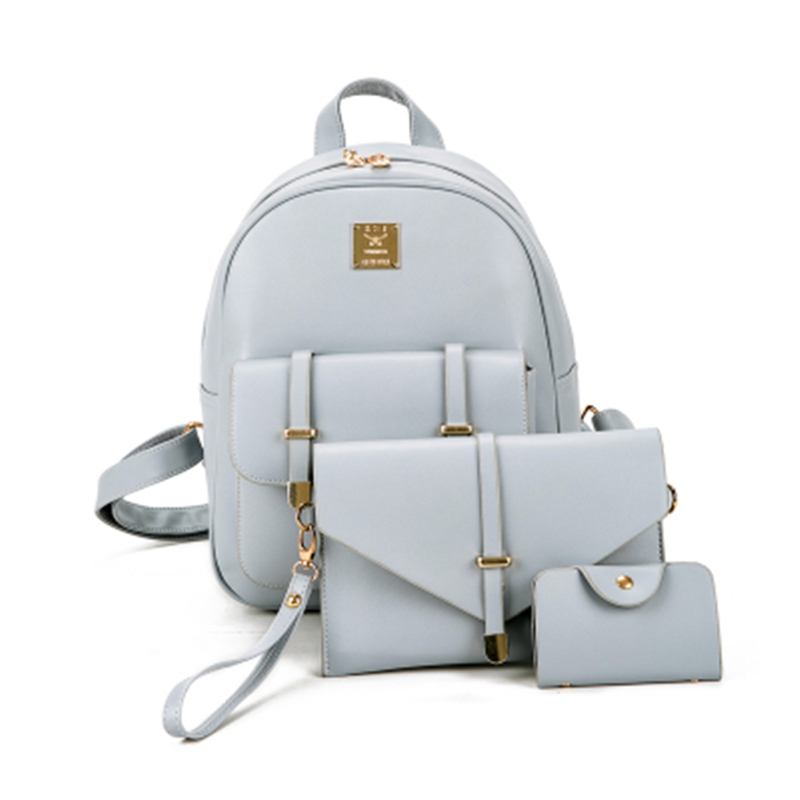 Fashion Women Bag Pu Leather Backpack Female Cute 3 Pcs Sets Bag School Backpacks For Teenage