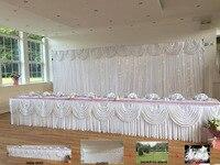 3x6 м белое свадебное фон Шторы + настольный юбка + Фон Стенд + LED свет для свадебного мероприятия & партии и Банкетный украшения
