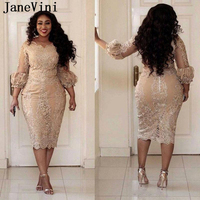 JaneVini Elegant Champagne Plus Size Lace Cocktail Dresses 2019 V Neck Appliques Beaded Straight Tea Length Abito Da Cocktail