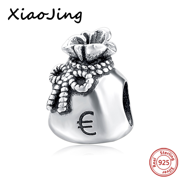 Hot 925 Sterling Silver Beads Money Bag European Charms Bead Fit Pandora Bracelet Bangle Diy