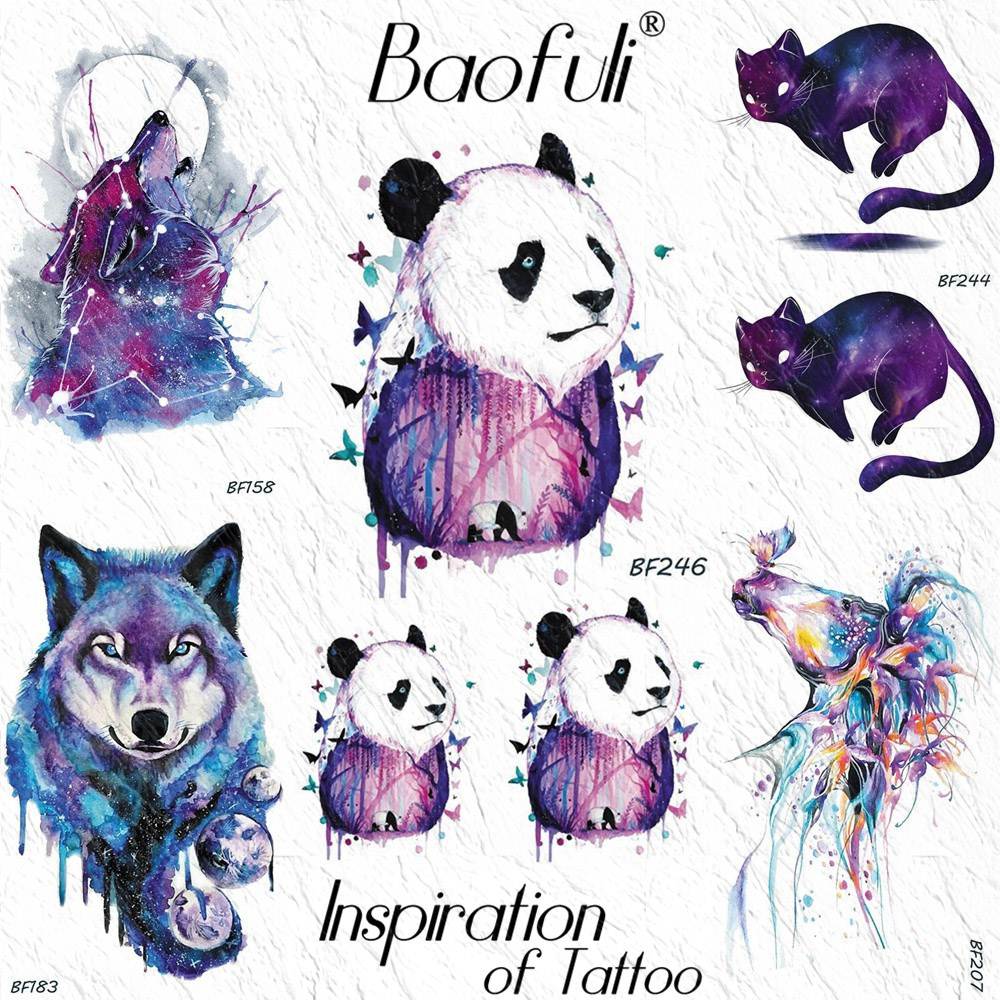 BAOFULI Watercolor Panda Butterfly Kids Temporary Tattoo Sticker 3D Colorful Forest Waterproof Tattoos Body Art Arm Fake Tatoo