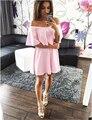 Vestidos de las mujeres 2016 Del Verano Sólido Ocasional Del Caramelo 6 Colores Casual Hombro de la Raya Vertical Del Cuello Atractivo Del Club Vestidos de Partido de Las Mujeres vestidos