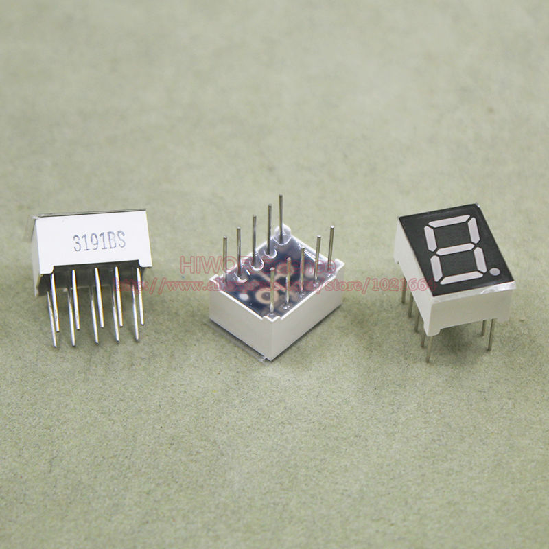 (10pcs/lot) 10 Pins 3911BR 0.39 Inch 1 Bit Digit 7 Segment Red LED Display Share Common Anode Digital Display