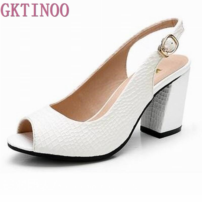 GKTINOO 2018 Summer shoes Woman open toe Women genuine leather High Heel sandals Casual platform Sandals Women Sandals gktinoo summer shoes woman genuine leather sandals open toe women shoes slip on wedges platform sandals women plus size 34 43