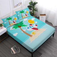 Tropical Island Landscape Bedding Set Kids Cartoon Airplane Bed Linens Blue Sky Fitted Sheet Polyester Pillowcase Home Decor