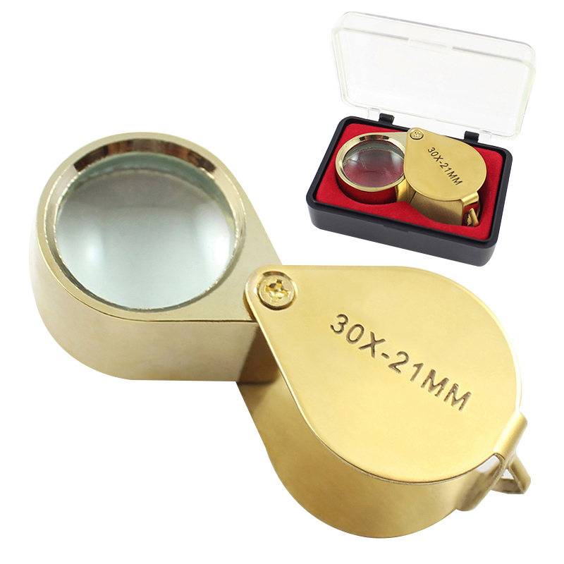 Portable 30X Power 21mm Jewelers Magnifier Gold Eye Loupe Jewelry Magnifying Glass With Exquisite Box High Quality
