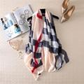 2016 моды испания марка большой размер плед шарф высокого качества Женщин шелковый Шарф Мыс шарфы и Шали пашмины écharpe cachecol