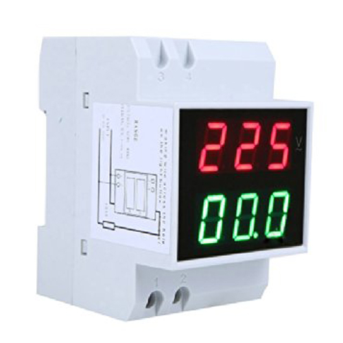 KSOL Din-Rail AC 110V/220V Digital Voltmeter Ammeter Red Volt Green Amp Meter LED Display