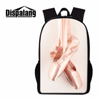 Dispalang Ballet Toe Shoe Print Backpack For Girls Cute School Back Pack Girly Rucksacks Artistic Bagpack