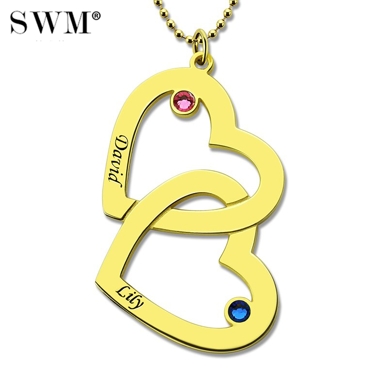 Helpful Womens Gold Color Necklace Custom Two Names Necklaces Birth Stones Choker Chain Double Hearts Couple Pendant Gift For Lover Online Shop Jewellery & Watches