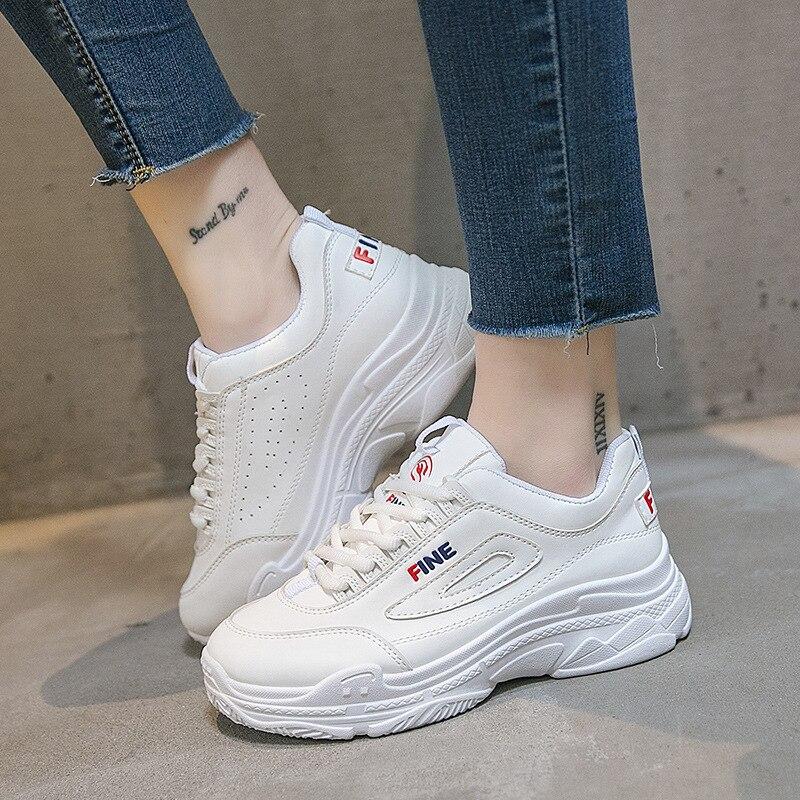 נשים מגופר נעלי אופנה לנשימה סניקרס נשים 2018 פלטפורמת נעלי הנוודים לבן סניקרס שטוח גבירותיי נעלי עור