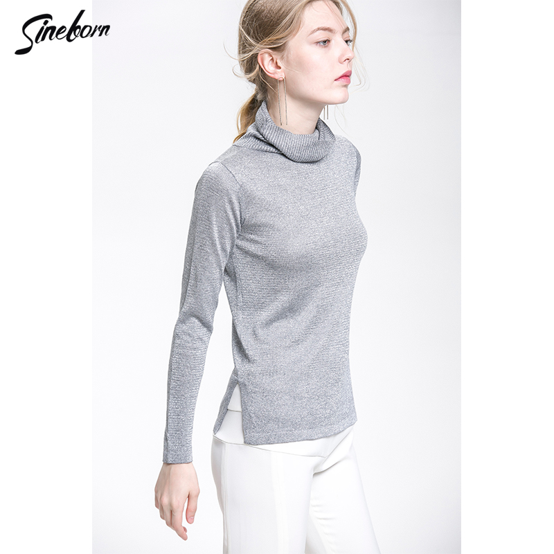 Sexy Knitted cableknit sweater Women Gold Thread Mercerized cotton  Turtleneck Long sleeve side vent Fitness Shiny Sweater-in Pullovers from  Women s Clothing ... fdb1bb497