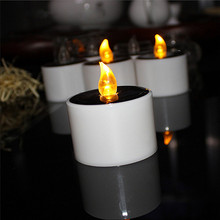 1Pcs Solar Powered LED Candles Flameless Electronic Tea Lights Lamp