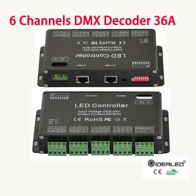Dmx controller 6 channel rgb decoder for 860w rgb led strip light dmx controller 6 channel rgb decoder for 860w rgb led strip light high power 36a input mozeypictures Choice Image