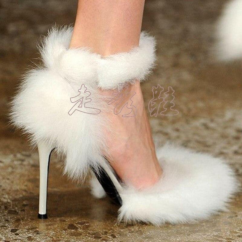 Stiletto Spartiates Mariage Zapatos Mujer Blanc Talons Sandales Mariée Robe Femmes Partie De As Pic Dame Pompes Plume Pour Sexy Fourrure Hauts Chaussures qwtzUaw