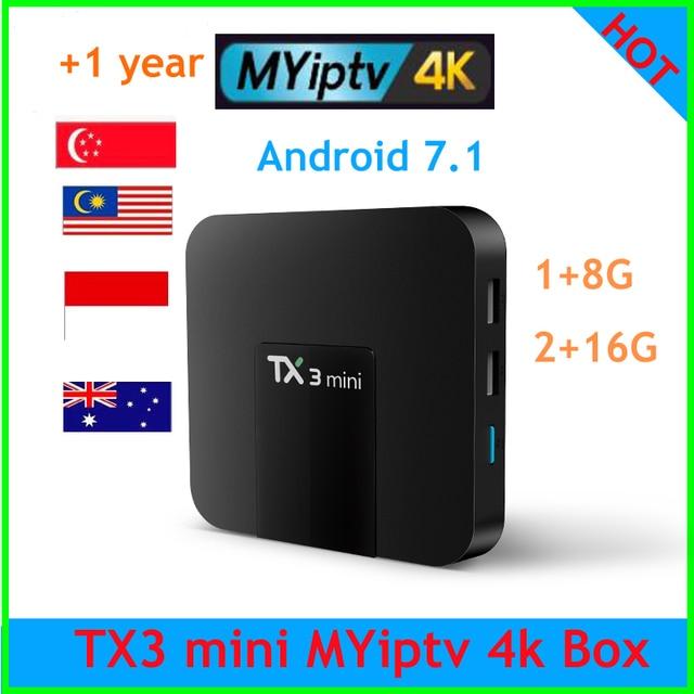 TX3 mini tv box malaisie iptv myiptv 1 an de Service 350 + chaînes malaisie singapour IPTV indonésie australie de h96 i7s s7
