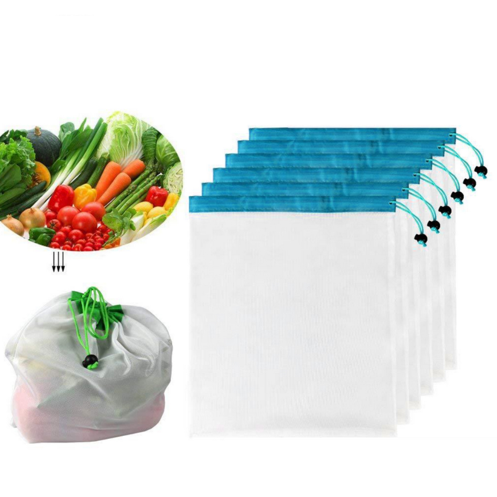 fe3a663bedd4 US $3.76 11% OFF|5pcs Reusable Mesh Produce Bags Washable Net Bags Grocery  Shopping Storage Fruit Vegetable Toys Eco Friendly Lightweight-in Bags & ...