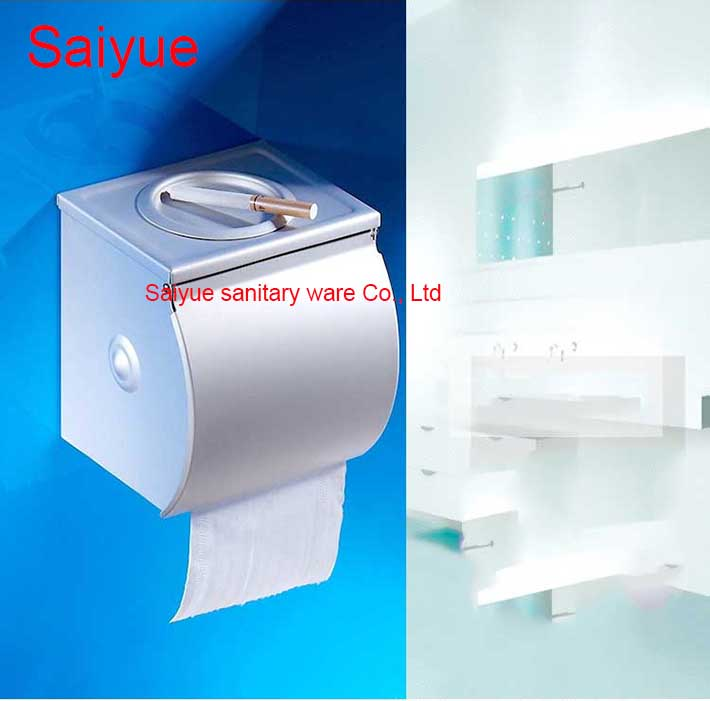 Luxury Bathroom Banheiro Accessories 304 Stainless Steel Toilet Paper Holder WC Cover with Ashtray Roll Tissue Rack Shelf fashion oil drum shaped stamp collage pattern stainless steel ashtray pen holder orange black
