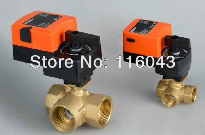 3/4'' Three way T type proprotion valve AC/DC24V 0-10V modulating on/off valve for flow regulation or on/off control 2 proprotion modulating valve 0 10v ac dc24v 4 20ma brass valve for flow regulation or on off control water treatment hvac