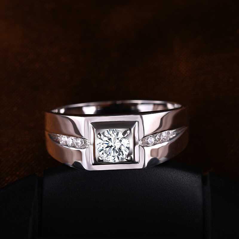 Gửi Bạc Giấy Chứng Nhận! YINHED 100% 925 Sterling Silver Ring 6mm Vòng Cubic Zircon Nhẫn Cưới cho Nam Giới Đồ Trang Sức Sang Trọng ZR563