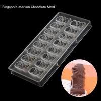 16pcs Singapore Merlio Chocolate Chocolate Clear Polycarbonate Plastic Mold,Party DIY Handmade Chocolate PC Mold,Chocolate Tools