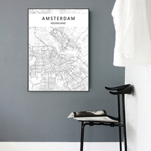 Modern City Amsterdam Map Minimalist Canvas Painting Black and White Wall Art Print Poster Pictures For Living Room Home Decor amsterdam city map