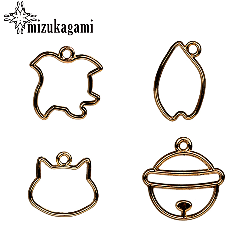 Zinc Alloy Charms Pendant Flat Gold Hollow Small Cat & Bell Shapes UV Resin Charms Pendants For DIY Jewelry Making Accessories