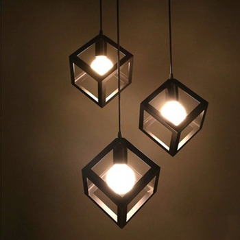 The process of personality single head three Head Square Restaurant Cafe Bar Iron Chandelier decorative lamp
