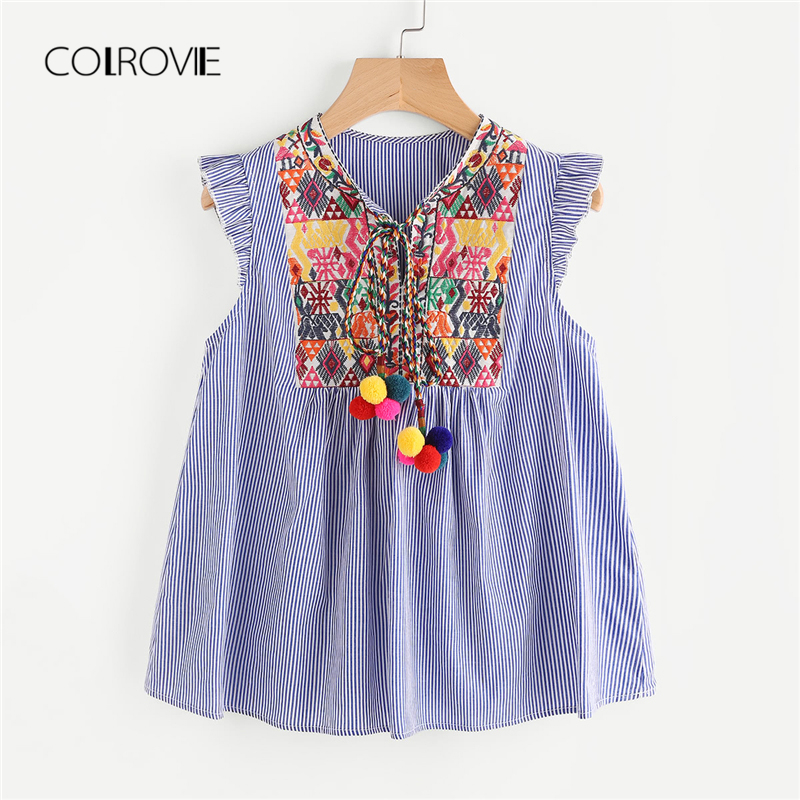 COLROVIE Blue Vacation Pom Pom Tie Neck Embroidered Yoke   Blouse     Shirt   2018 New Summer   Blouse   Women Clothes Sexy Feminine   Blouse