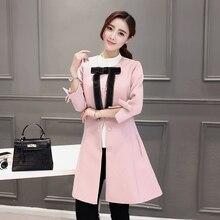 plus big size coats women spring autumn 2016 feminina new pink black dust coat single breasted coat female A2349