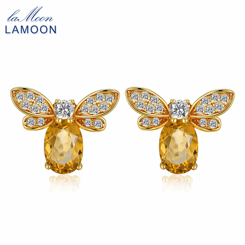 LAMOON Bee 5x7mm 1ct 100% Natural Citrine 925 sterling-silver-jewelry  Stud Earring S925 LMEI041