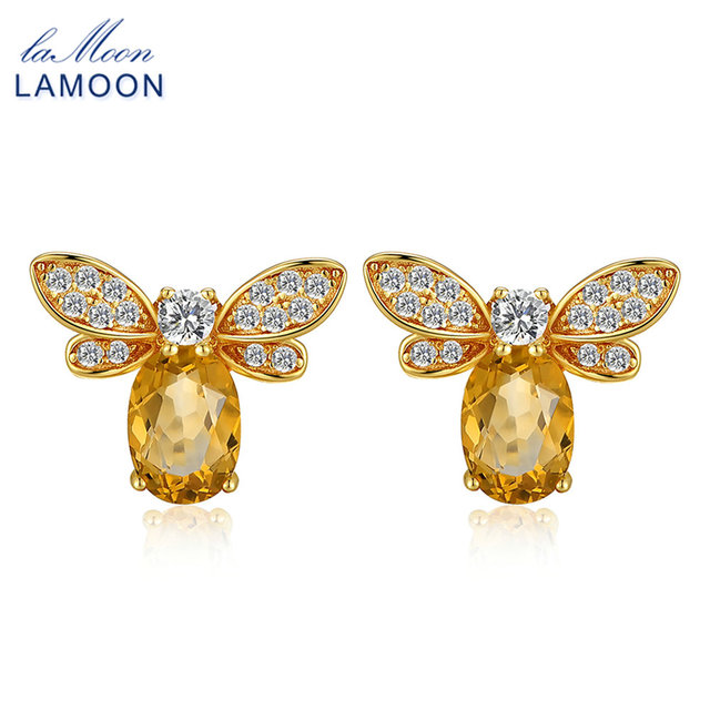 LAMOON Bee 5x7mm 1ct 100% Natural Citrine 925 sterling silver jewelry  Stud Earring S925 LMEI041-in Earrings from Jewelry & Accessories on Aliexpress.com | Alibaba Group