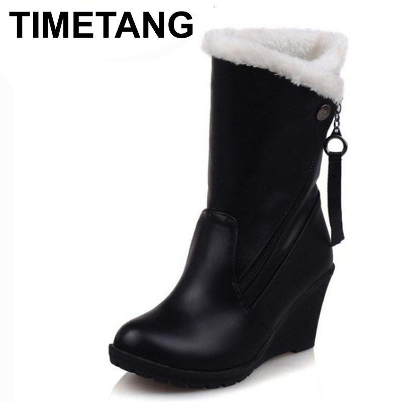 TIMETANG Woman Round Toe Wedge Mid Calf Boots Women Thickened Fur Winter Warm Half Snow Botas High Quality Shoes Footwear