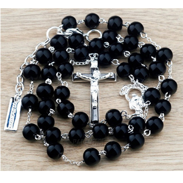 Beckham rosary cross necklace Bead Chain pendant Necklaces for men women fashion jewelry Black masculina colar