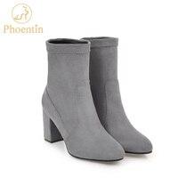 Phoentin להחליק על אמצע עגל מגפי נשים 2017 למתוח קטיפה נעלי אישה מגפי עקב גבוה קצרים תפירת בד משמש סקס FT200