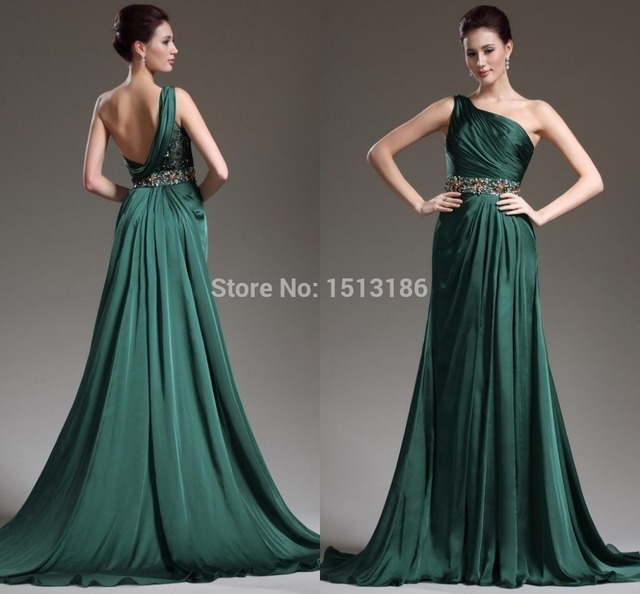 5a0d18634a Beautiful dark Green Prom dresses 2017 hot sale evening dress Kadisua one  shoulder formal gown beaded shiny crystal WHL40