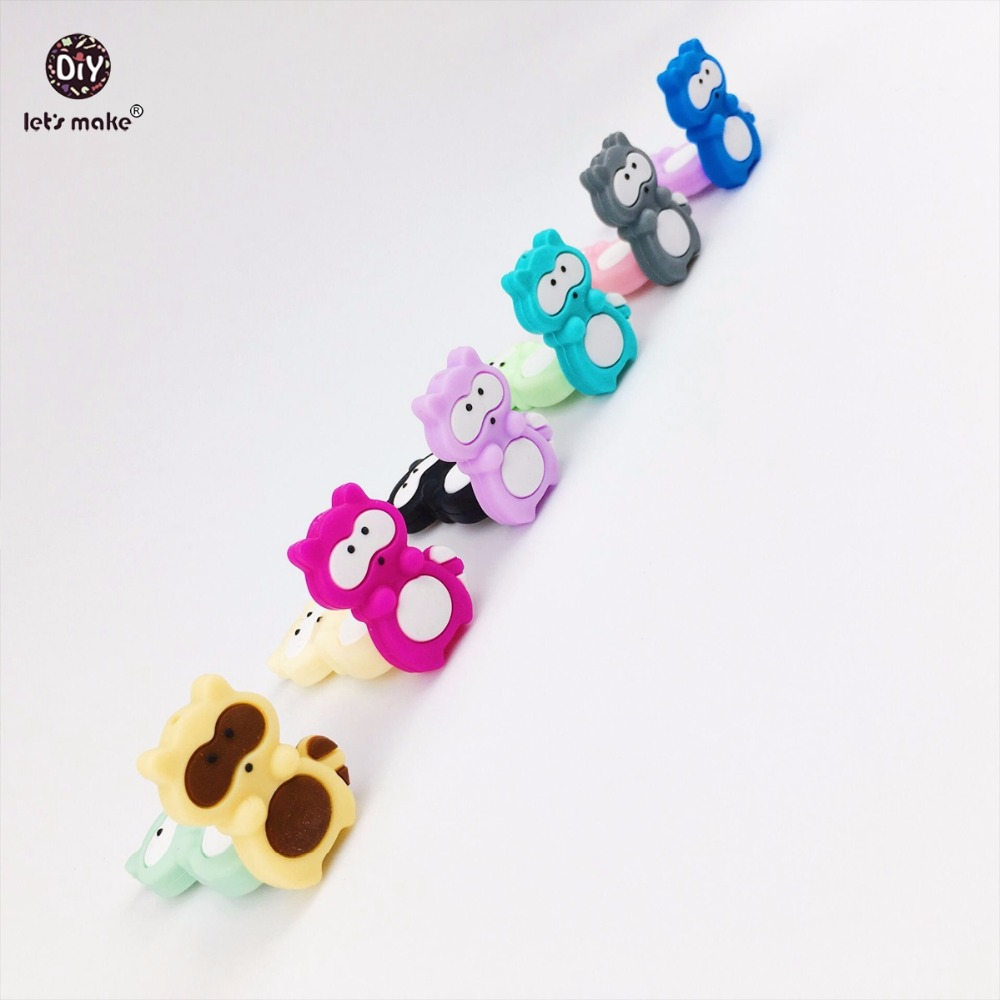 Lets Make Raccoon Siilicone Teether Beads 50pc Food Grade Silicone DIY Teething Necklace Bracelet Made Accessories Baby Teether