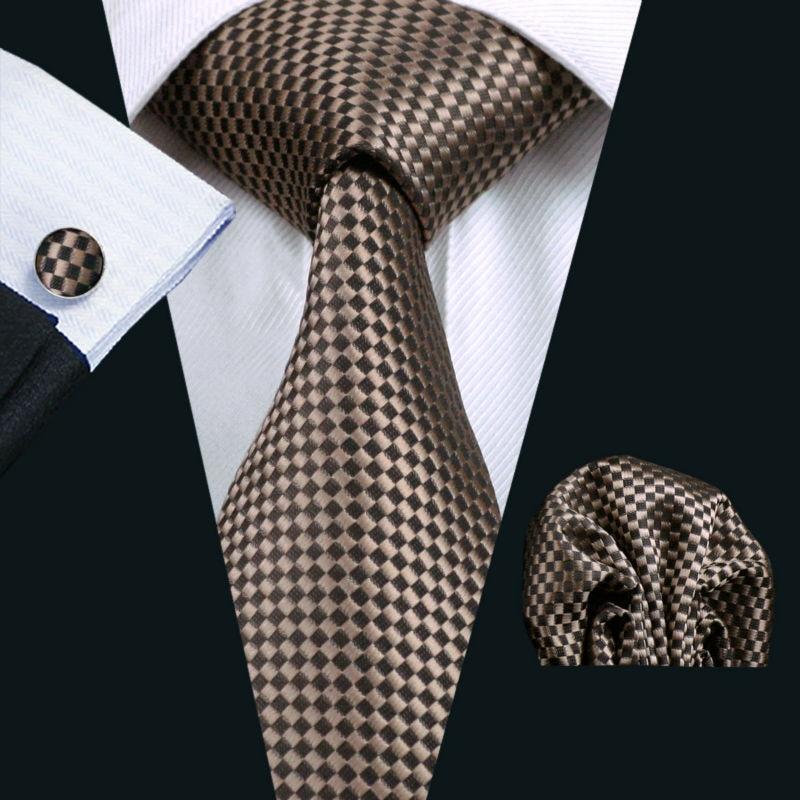 LS-833 Mens Tie Brown Geometric 100% Silk Classic Barry.Wang Gravata Tie+Hanky+Cufflinks Set For Men Formal Wedding Party