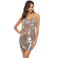 Golden Sequin Tassel Party Short Sexy Dress Glitter Women New Nightclub Sequined Fringed Deep V Neck Celebrity inspired Dresses