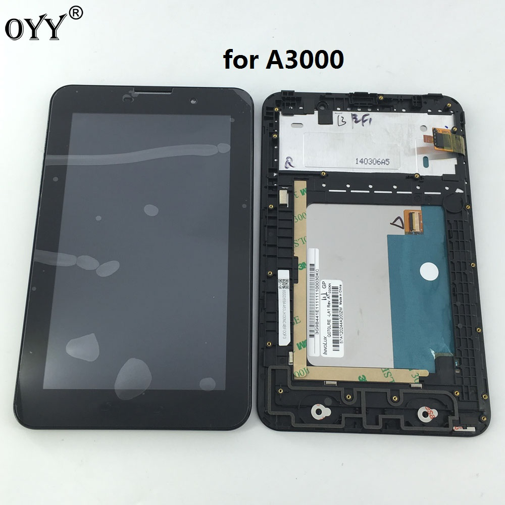 new LCD display + touch screen digitizer Assembly with frame Replacement Parts for Lenovo IdeaTab A3000 A3000-H white new lcd display touch screen digitizer replacement repair frame assembly for iphone 5s