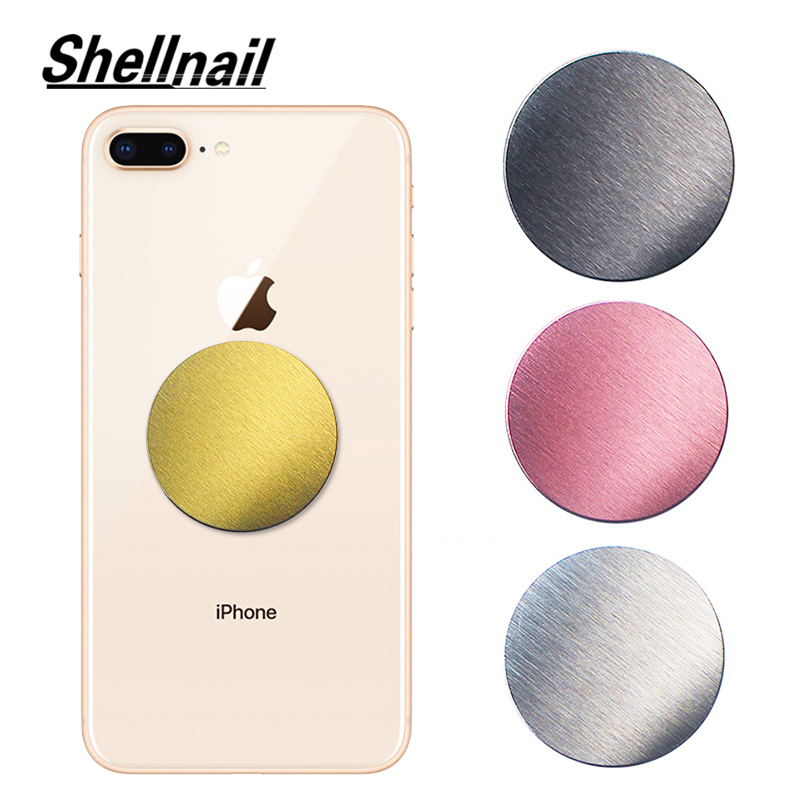 SHELLNAIL Drawing Metal Plate Disk For Magnetic Car Phone GPS Holder For Iphone Universal Magnet Mobile Phone Stand Accessories