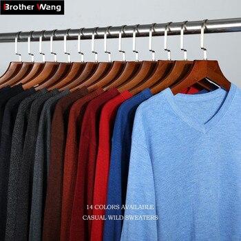 14 видов цветов 2018 осень зима новый вязаный пуловер для мужчин бизнес кашемировый свитер мужчин's повседневное V образным вырезом свитеры для...