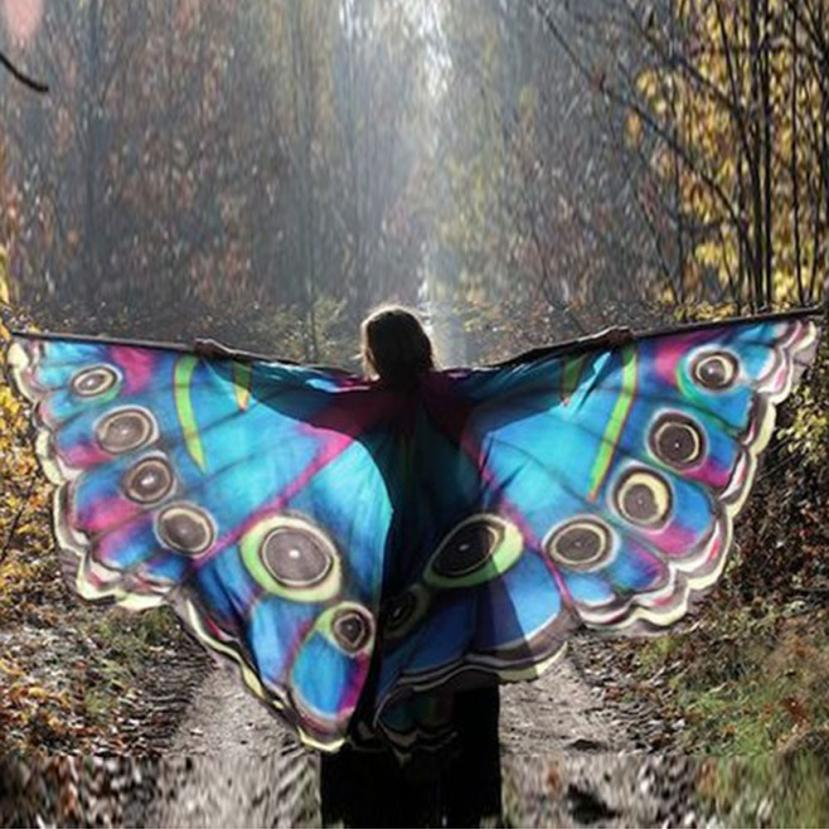 2018 Colorful butterfly wings cape mask for birthday party fantasy girl gifts camping  For women Scarf Costume Accessory
